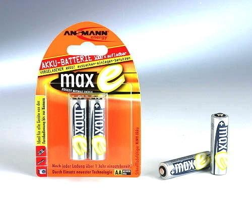 Akku Mignon AA 2100mAh maxE Batterien 2er Blister