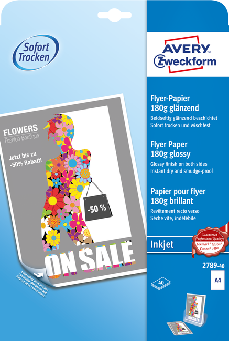 2789-40 Inkjet Flyer-Papier A4 180G 40 Blatt