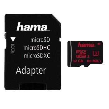 00123981 microSDHC 32GB UHS Speed Class 3 UHS-I 80MB/s + Adapter/Foto
