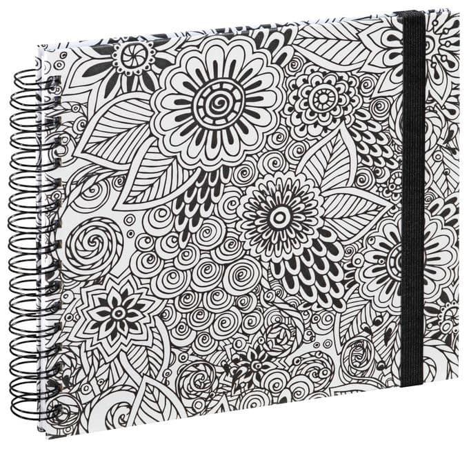 """00002388 Spiral-Buch """"Colorare"""" 28x24cm 50 weiße Seiten Blumen"""