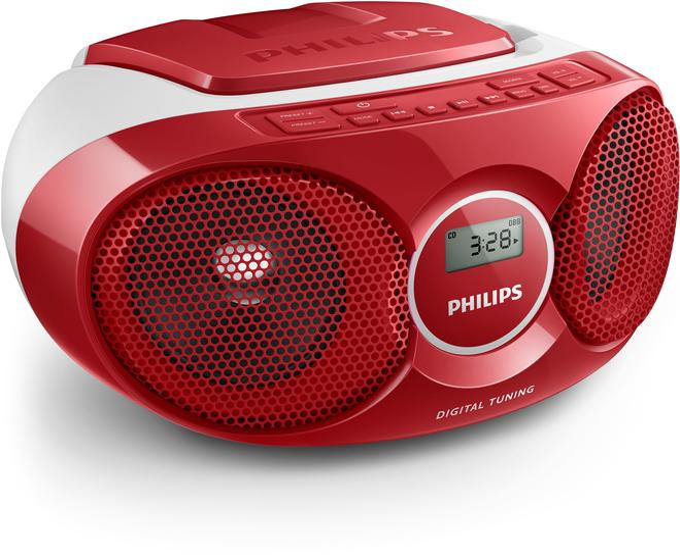 AZ215R/12 CD-Soundmaschine Radiorekorder AUX Shuffle Funktion Rot