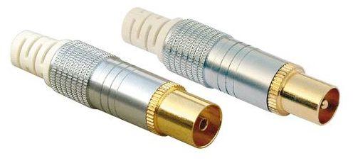KST6062S 531 IEC Stecker Set: IEC Stecker + IEC Buchse Gold,Silber