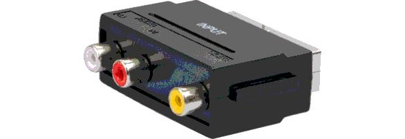 SCA7300 531 AV Adapter: 3 CINCH Buchsen (IN) > SCART Stecker (OUT)