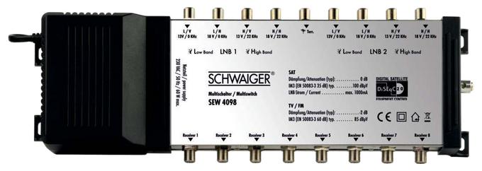 SEW4098 531 SAT-Multischalter 8 Ausgänge 9 Eingänge