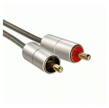 """00080865 Verbindungskabel """"AluLine"""" Klinkenst. 3,5mm - 2x Cinch-Stecker 2m"""