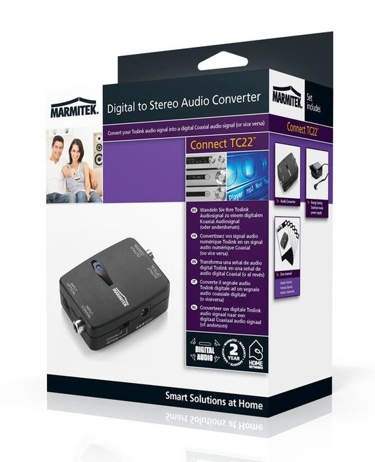 Audio-Converter Toslink<->Koaxial digital Connect TC22