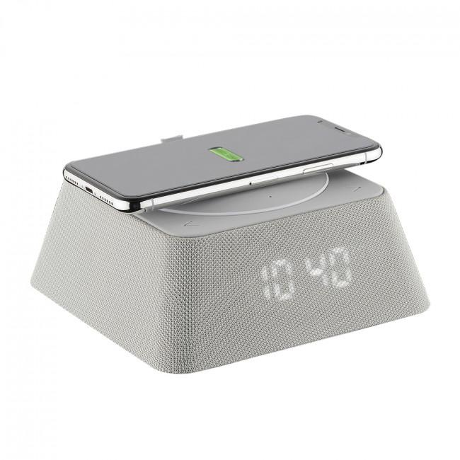 Q-Box Uhrenradio FM-Radio 3.000 mAh Powerbank Bluetooth Grau