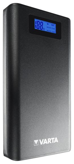 57971 Powerbank 3,7V 13000mAh Blaues LC-Display LED-Notfalllicht Grau