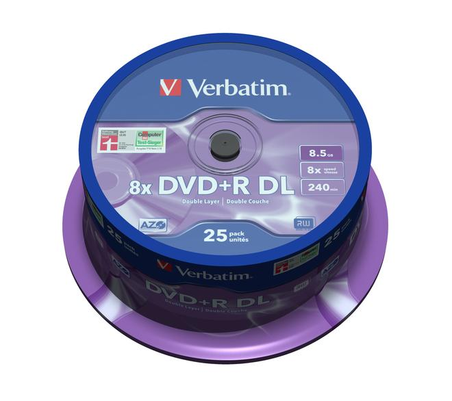 DVD+R Double Layer 8x Matt Silver 25pk Spindle