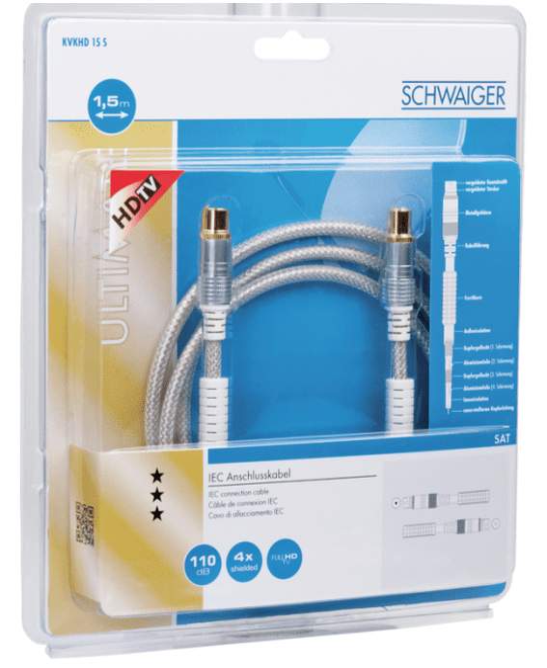 KVKHD15S 531 Antennenkabel IEC Stecker > IEC Buchse Ferritkern 1,5m