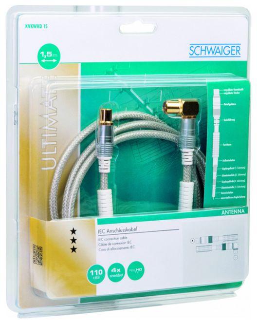 KVKWHD15 531 Antennenkabel, IEC Winkelbuchse > IEC Stecker Ferritkern