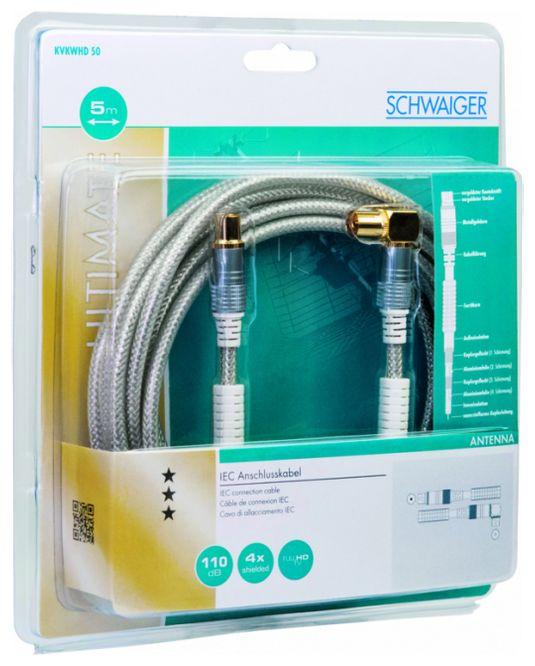 KVKWHD50 531 Antennenkabel, IEC Winkelbuchse > IEC Stecker Ferritkern
