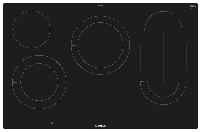 ET801LMP1D Glaskeramik-Kochfeld 80cm Dual LightSlider-Bedienung