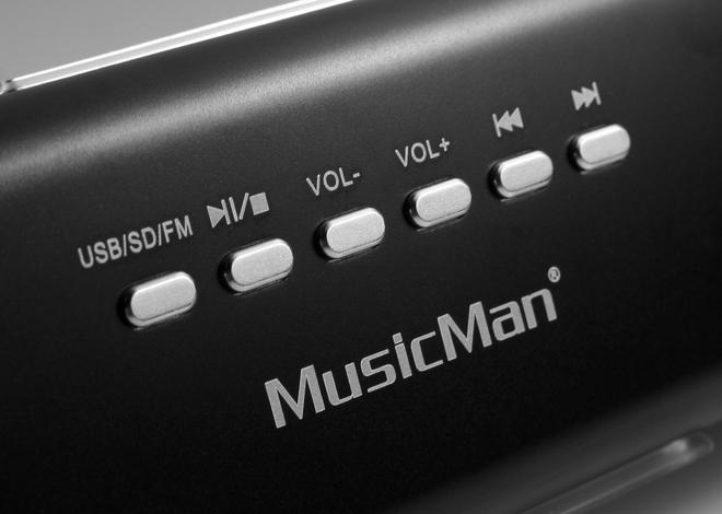 MusicMan MA mobiler Lautsprecher MP3-Player FM-Radio USB