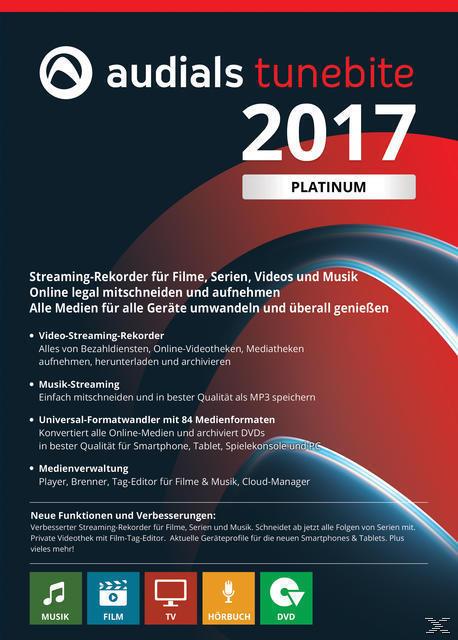 Audials Tunebite 2017 Platinum (PC) für 49,90 Euro