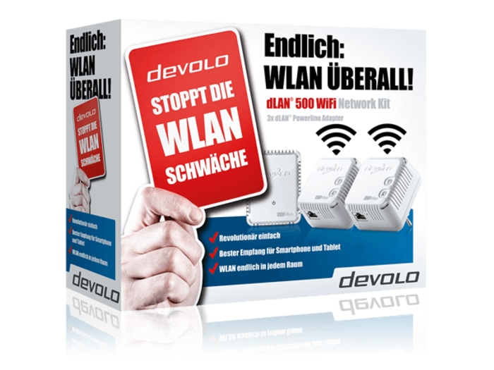 Devolo dLAN 500 Mbit/s WiFi Network 3er-Kit WLAN Powerline für 129,00 Euro