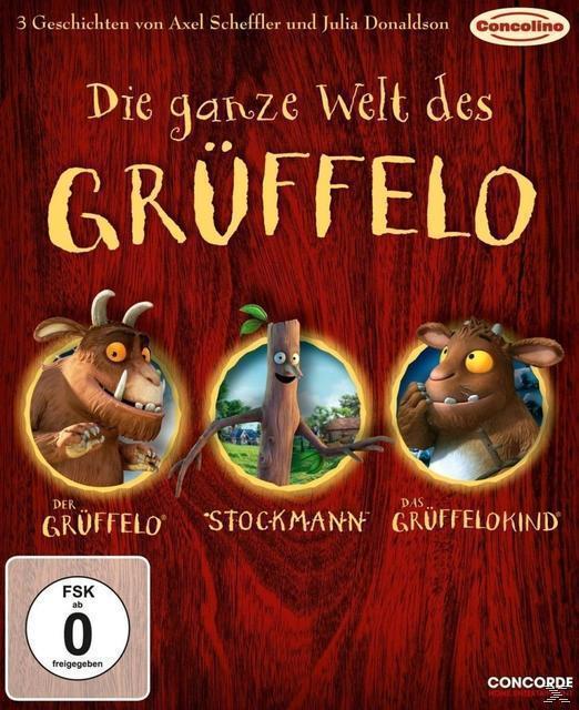 Die ganze Welt des Grüffelo - 3 Geschichten von Axel Scheffler und Julia Donaldson (Der Grüffelo, Das Grüffelokind, Stockmann) Bluray Box (BLU-RAY) für 14,99 Euro