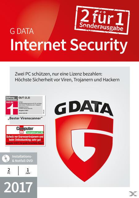 G Data InternetSecurity 2017 2 PC SE (PC) für 24,99 Euro