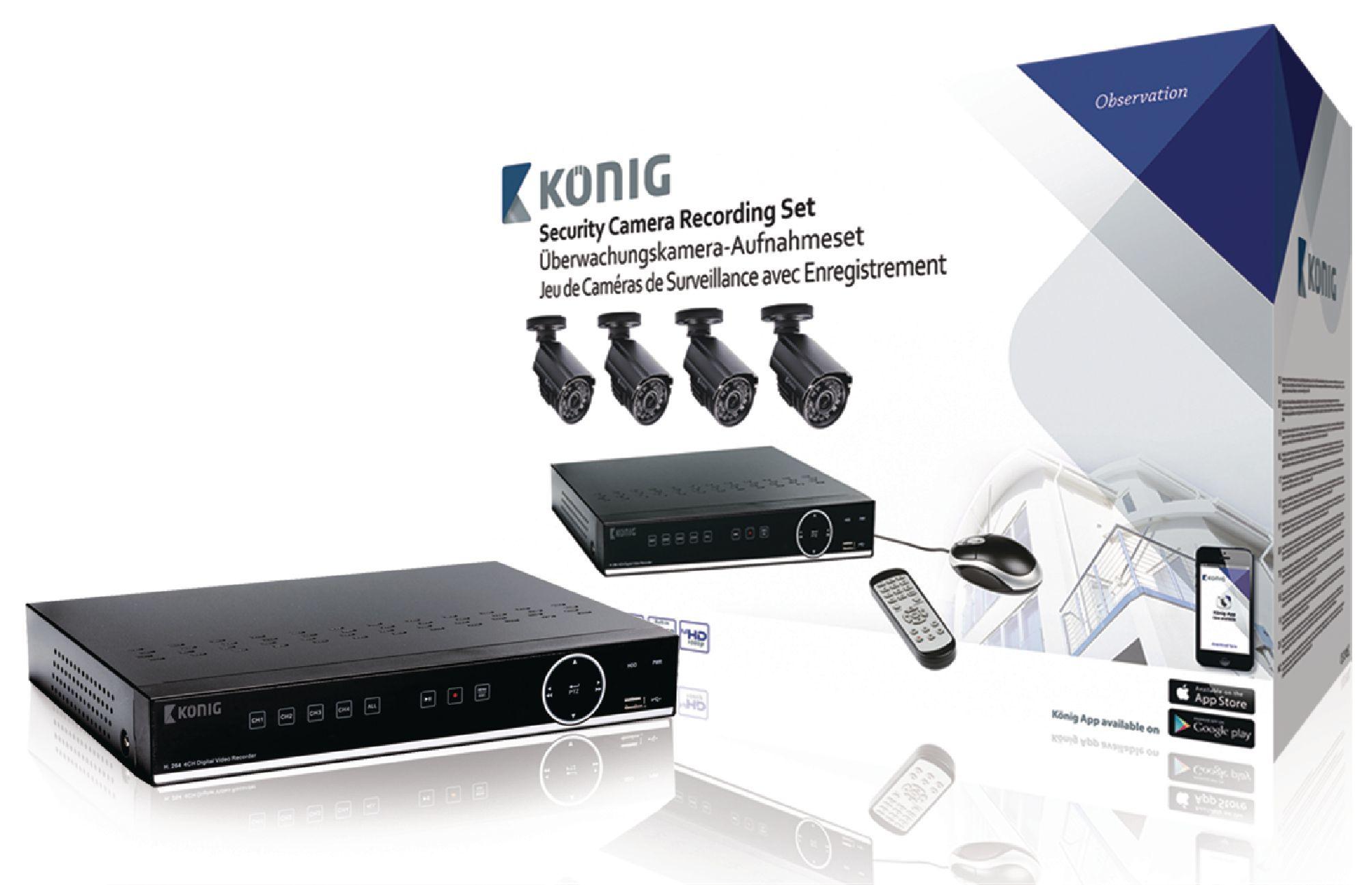 König SAS-SETDVR45 Security Set mit 500GB DVR und 4 Kameras für 339,99 Euro
