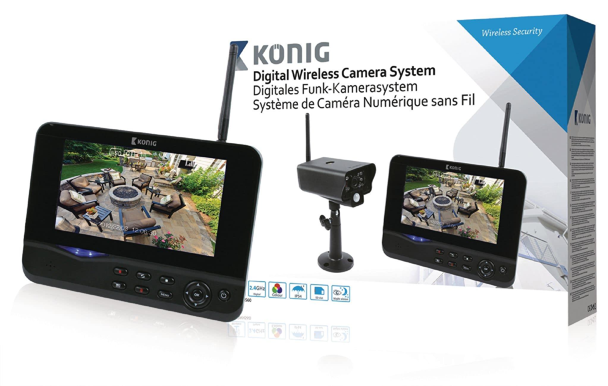 """König SAS-TRANS60 Digitales 2,4 GHz Funk-Kamerasystem mit 7"""" Monitor für 149,99 Euro"""