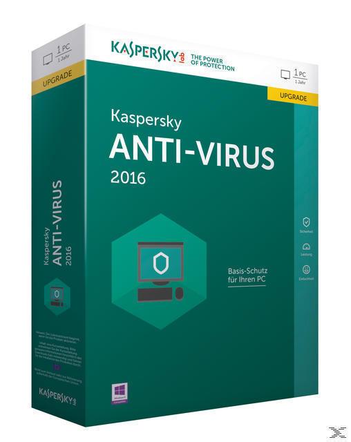 Kaspersky Anti-Virus 2016 Upgrade (Code in a Box) (PC) für 19,99 Euro