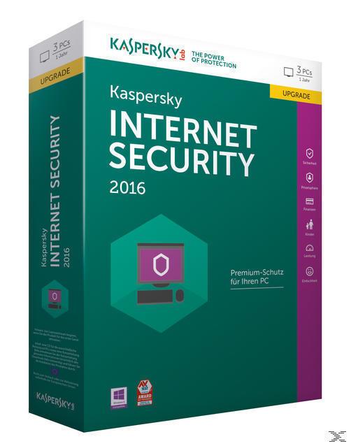 Kaspersky Internet Security 2016 3 Lizenzen Upgrade (PC) für 35,00 Euro