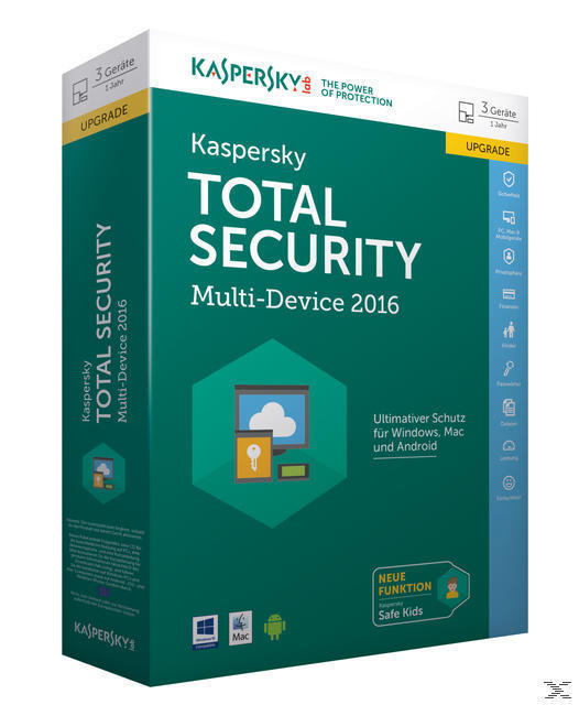 Kaspersky Total Security Multi-Device 2016 Upgrade (PC) für 49,00 Euro