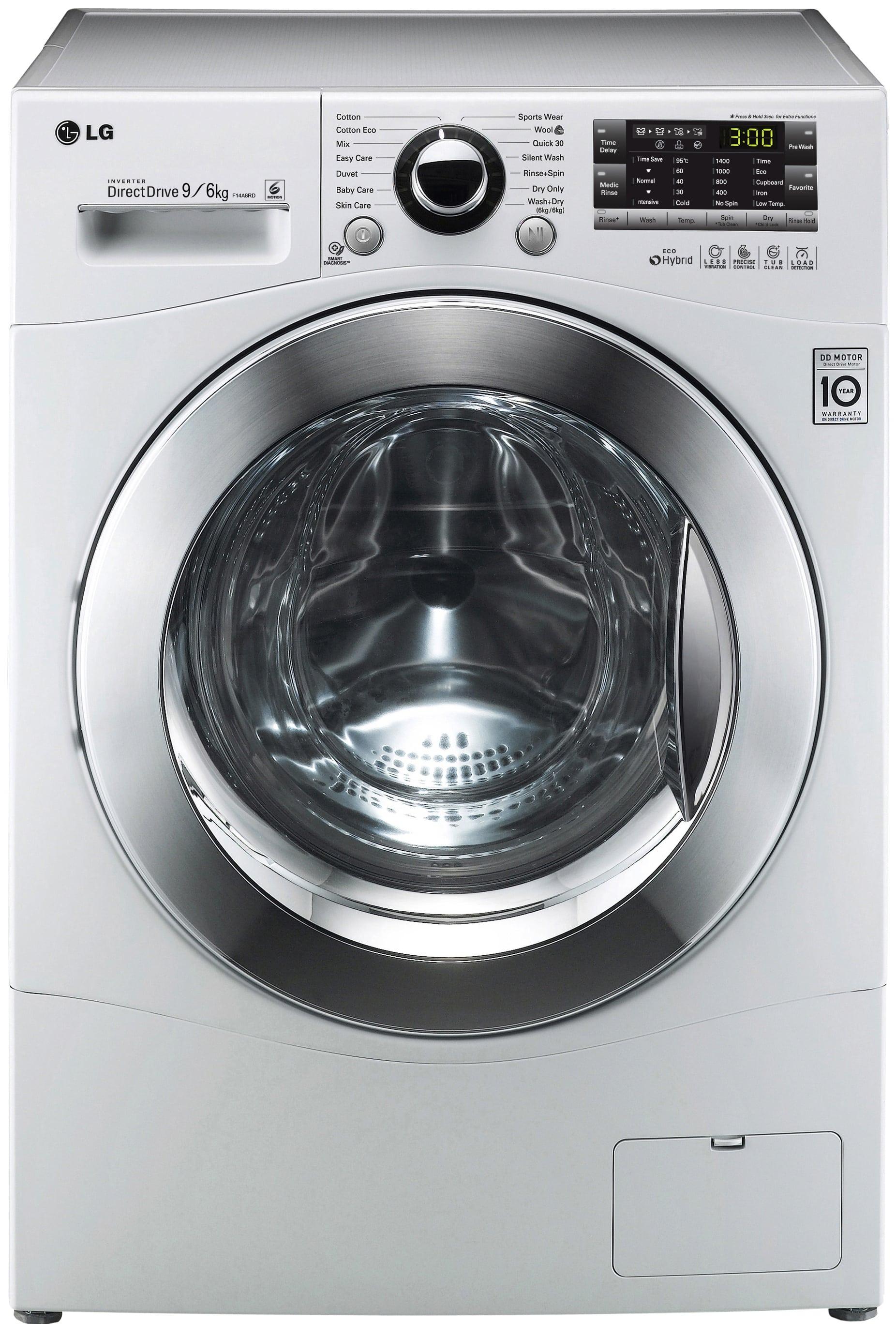 LG F14A8RD Waschtrockner Frontlader Waschen 9kg/Trocknen 6kg A AquaStop für 677,00 Euro
