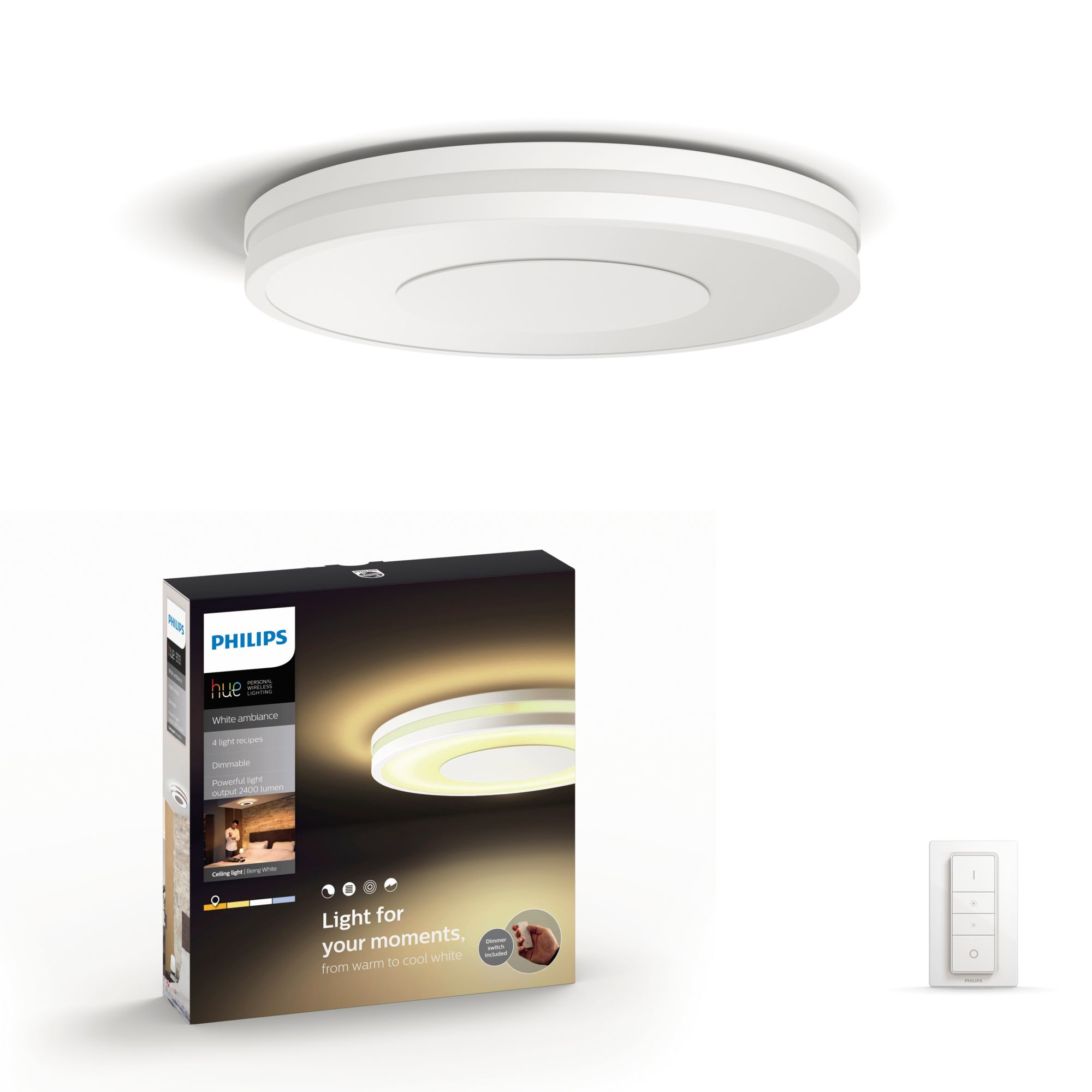 Philips by Signify 3261031P7 Being Hue White Ambiance-Deckenleuchte LED 32W dimmbar für 139,99 Euro