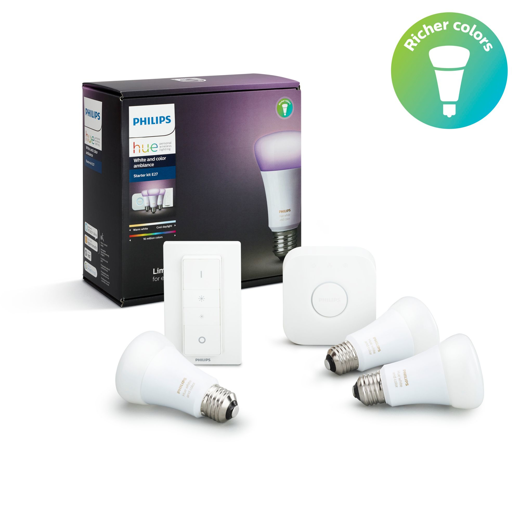 Philips by Signify hue White and Color Ambiance Starter Kit E27 LED-Lampen 10W für 159,00 Euro