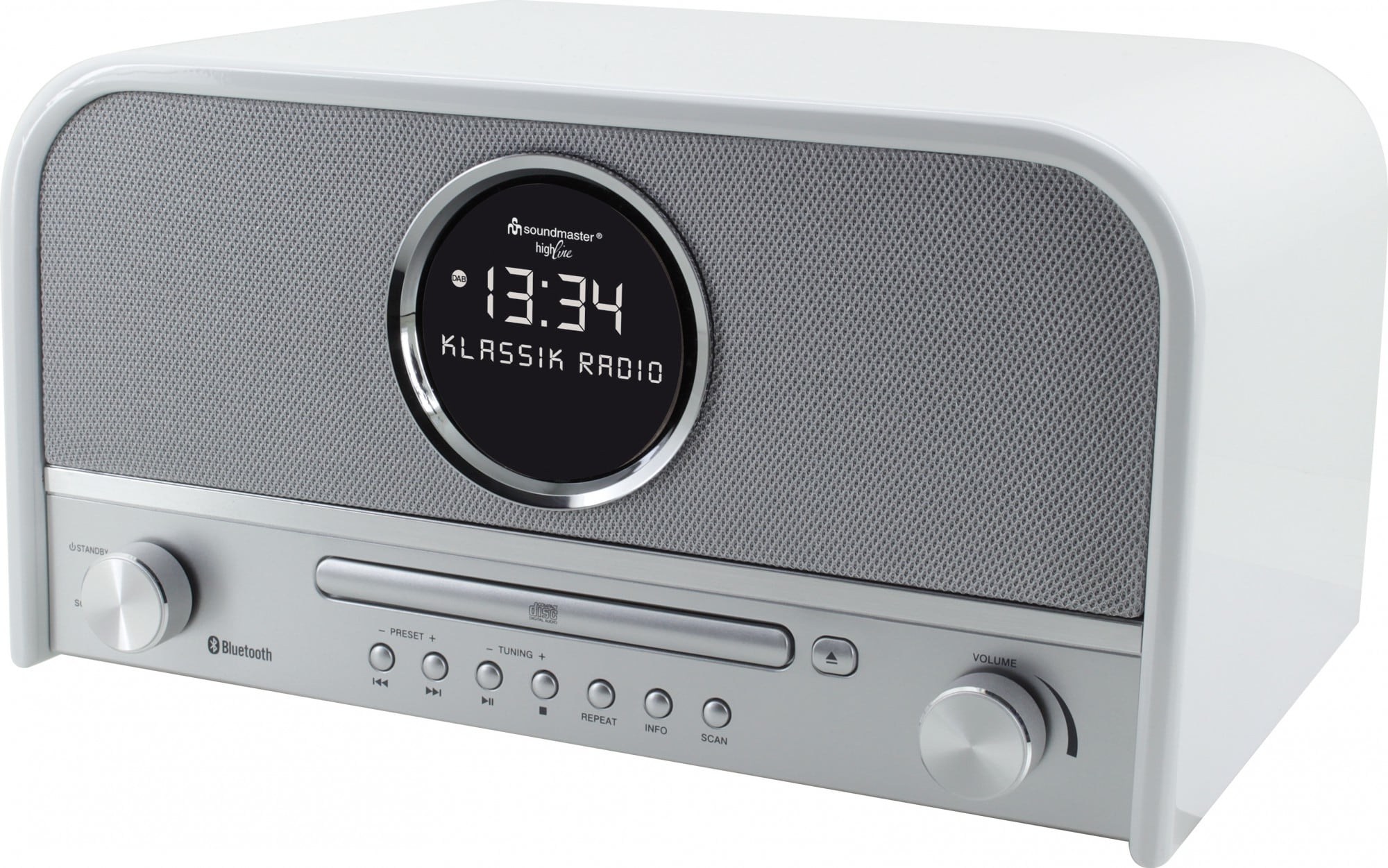 Soundmaster NR850WE UKW/DAB+ Radio LCD-Uhr Bluetooth USB CD für 199,00 Euro