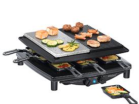 Steba RC 4 plus deluxe Raclette-Grill 1450W 8 Pfännchen Gourmet-Guss-Pfanne für 139,99 Euro