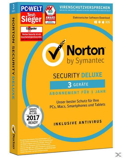 SYMANTEC Norton Security Deluxe (3 Geräte - PC, Mac, Smartphone, Tablet) (PC) für 24,90 Euro